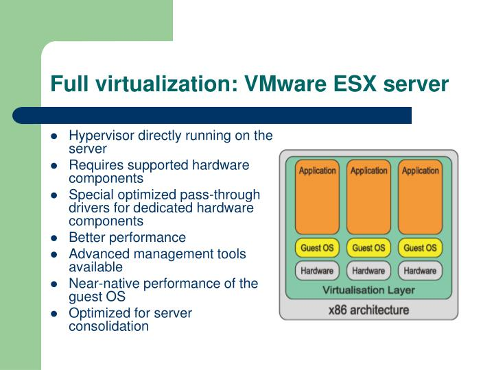 Full virtualization: VMware ESX server