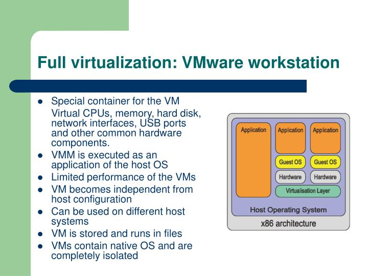 Full virtualization: VMware workstation