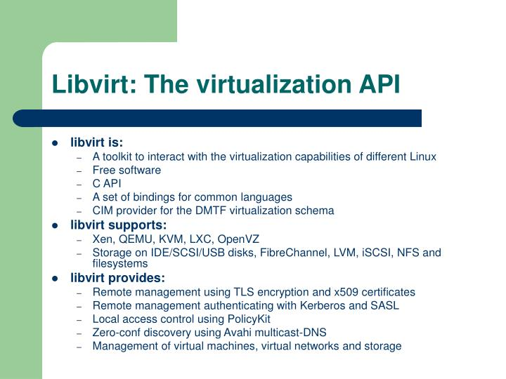 Libvirt: The virtualization API