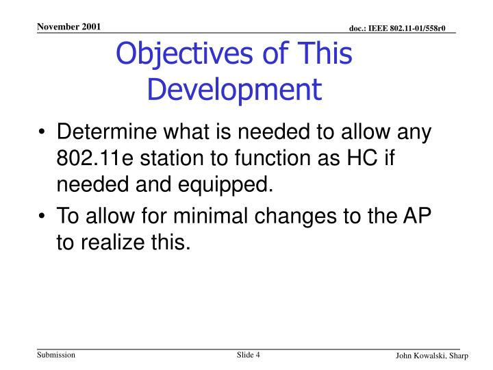 Objectives of This Development