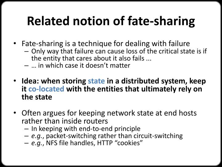 Related notion of fate-sharing