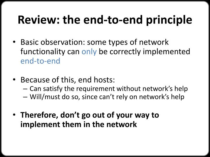 Review: the end-to-end principle