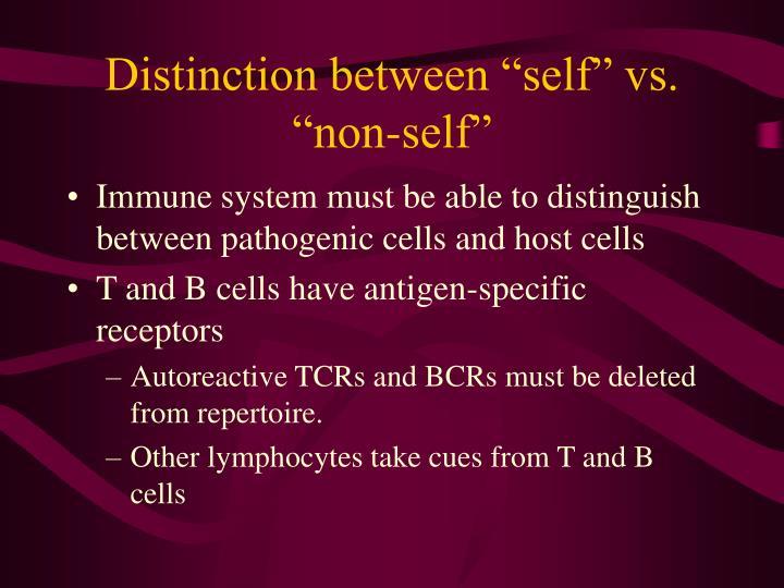 "Distinction between ""self"" vs. ""non-self"""