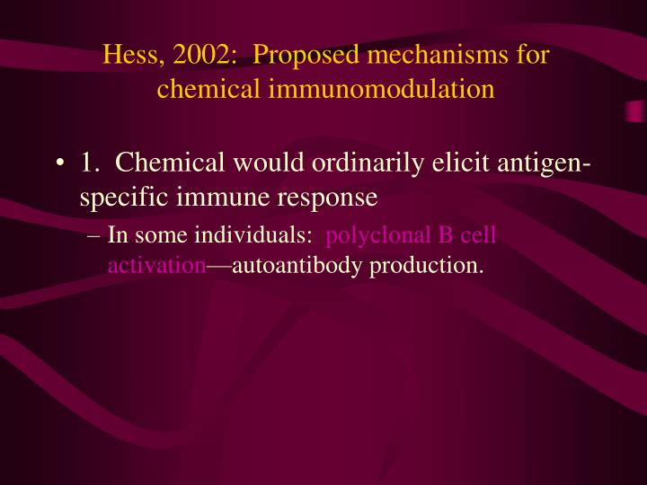 Hess, 2002:  Proposed mechanisms for chemical immunomodulation
