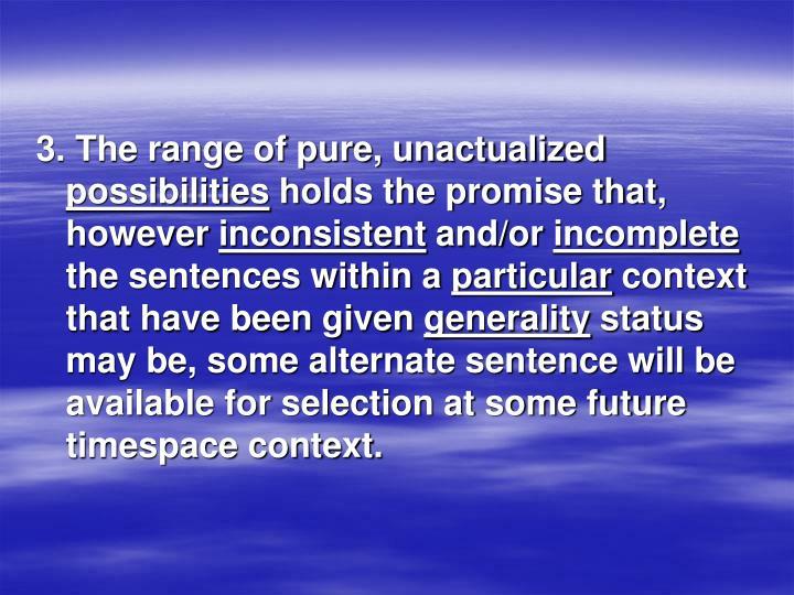 3. The range of pure, unactualized