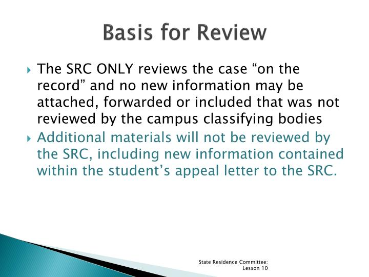 Basis for Review