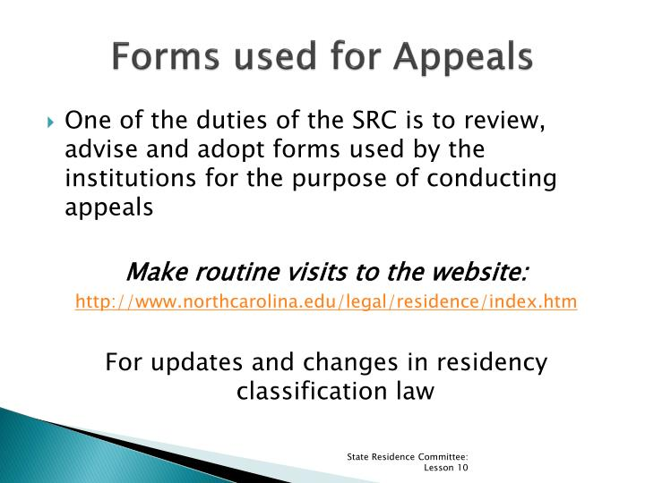 Forms used for Appeals