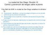 la ciudad de san diego divisi n 10 control y prevenci n de riesgos sobre el plomo