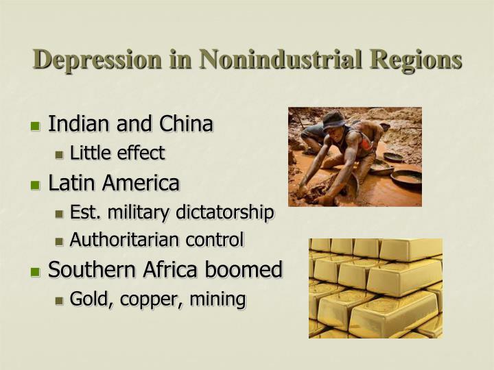 Depression in Nonindustrial Regions