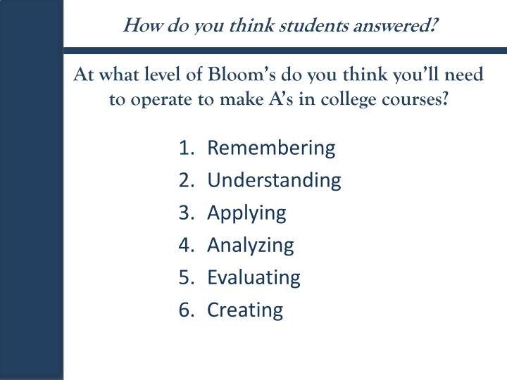 How do you think students answered?