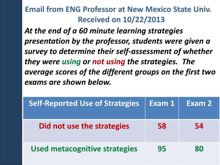 Email from ENG Professor at New Mexico State Univ.