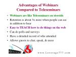 advantages of webinars compared to teleseminars