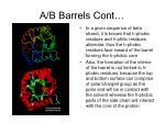 a b barrels cont