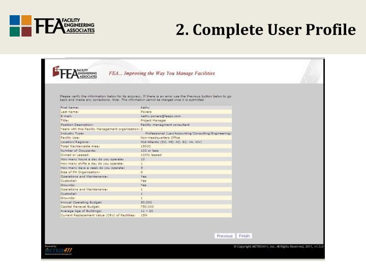 2. Complete User Profile