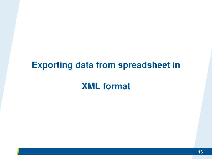 Exporting data from spreadsheet in
