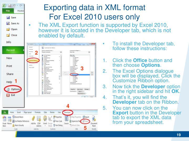 Exporting data in XML format