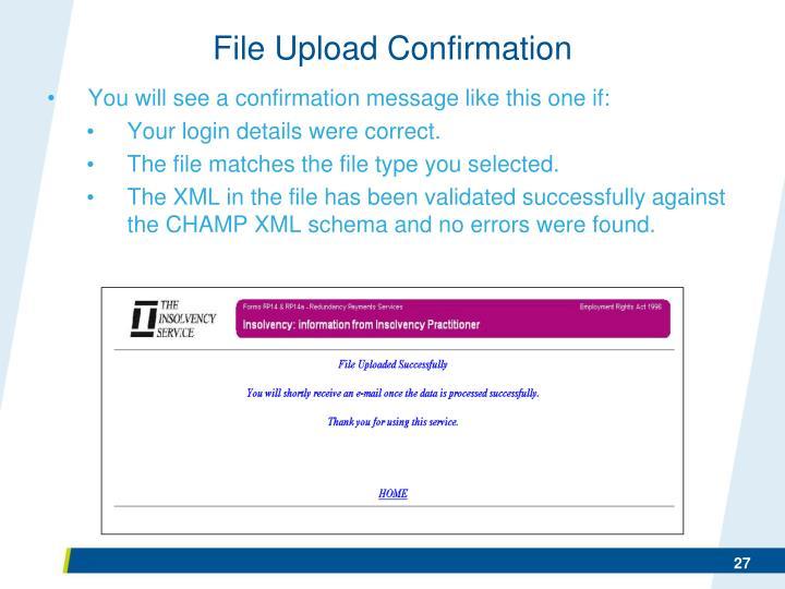 File Upload Confirmation