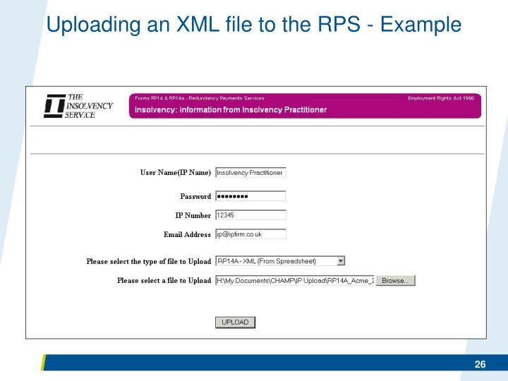 Uploading an XML file to the RPS - Example