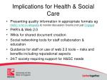 implications for health social care