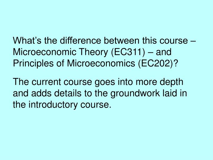 What's the difference between this course –  Microeconomic Theory (EC311) – and Principles of Microeconomics (EC202)?