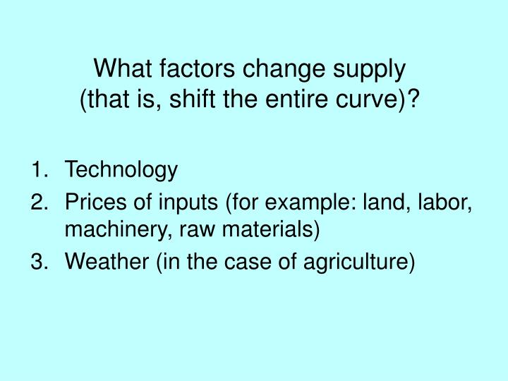 What factors change supply