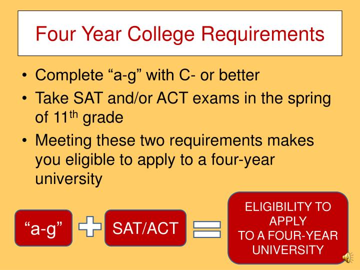 Four Year College Requirements