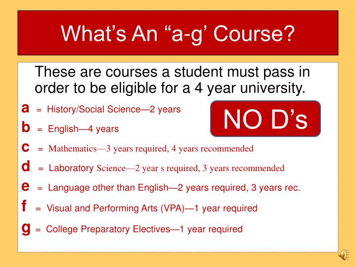 """What's An """"a-g' Course?"""