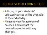 course verification sheets