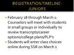 registration timeline juniors