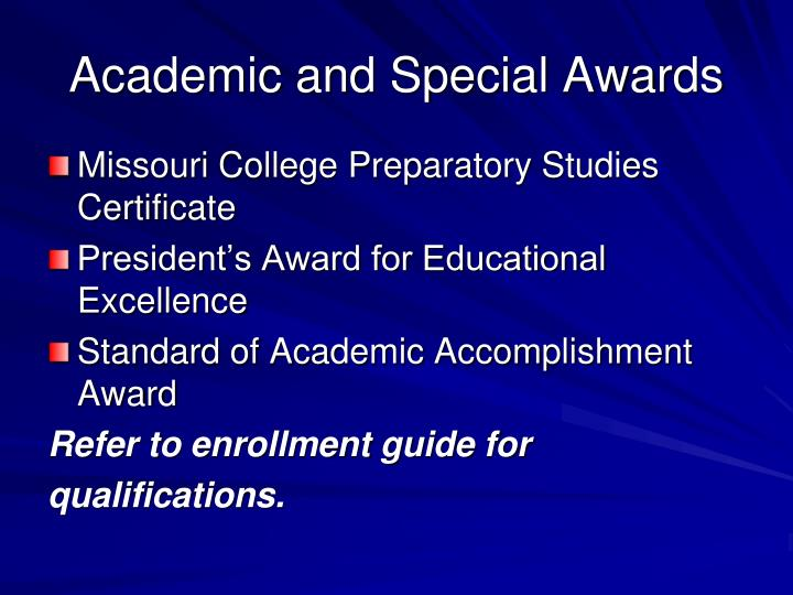 Academic and Special Awards
