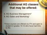 additional ag classes that may be offered