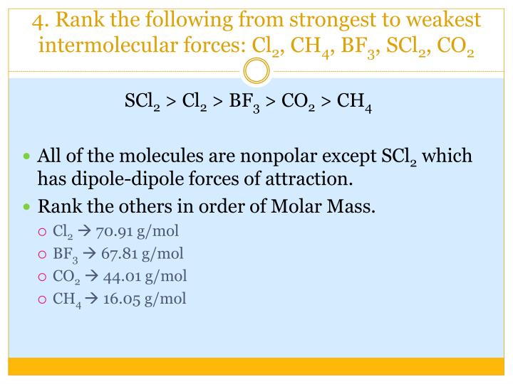 Ppt Intermolecular Forces Powerpoint Presentation Id5426376. Rank The Following From Strongest To Weakest Intermolecular. Worksheet. Intermolecular Forces Worksheet Ap Chemistry At Clickcart.co
