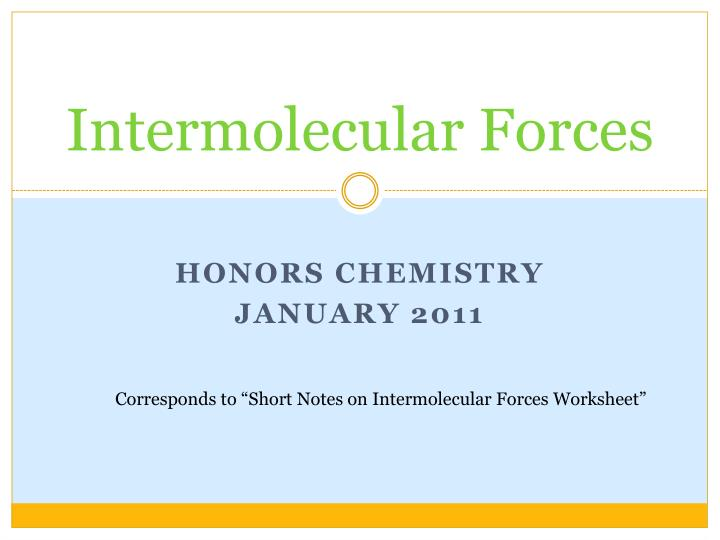 Ppt Intermolecular Forces Powerpoint Presentation Id5426376. Intermolecular Forces Honors Chemistry. Worksheet. Intermolecular Forces Worksheet Ap Chemistry At Clickcart.co