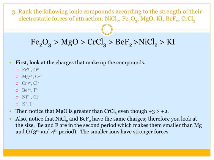 Ppt Intermolecular Forces Powerpoint Presentation Id5426376. Of Their Electrostatic Forces Attraction Nicl2 Fe2o3 Mgo Ki Bef2 Crcl3. Worksheet. Intermolecular Forces Strongest To Weakest Worksheet At Mspartners.co