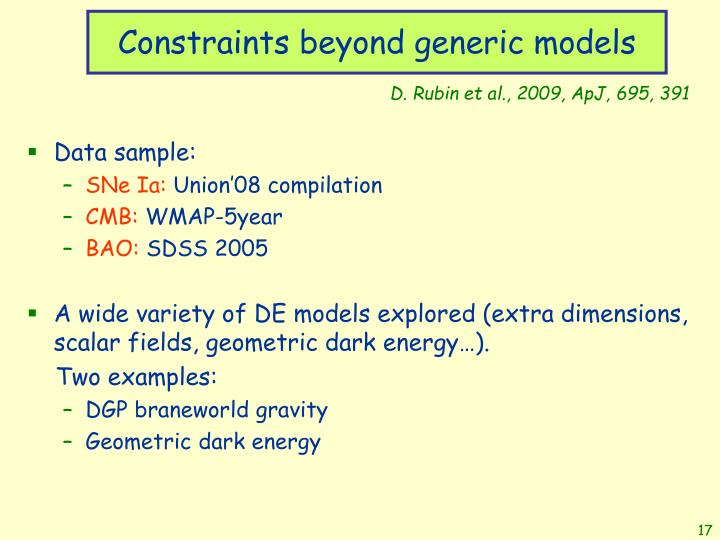Constraints beyond generic models