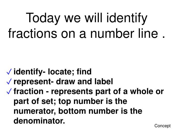 PPT - Today we will identify fractions on a number line