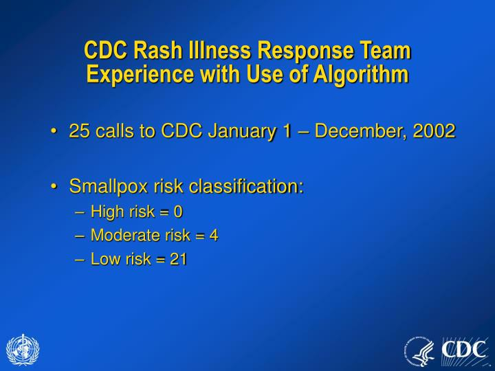 CDC Rash Illness Response Team  Experience with Use of Algorithm