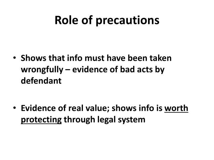 Role of precautions