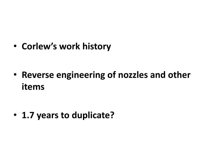 Corlew's work history
