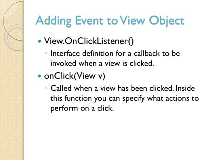 Adding Event to View Object