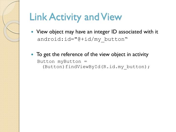 Link Activity and View
