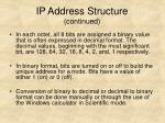 ip address structure continued