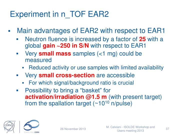 Experiment in n_TOF EAR2