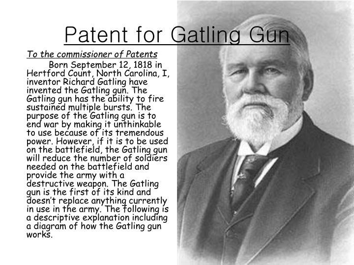 Patent for Gatling Gun