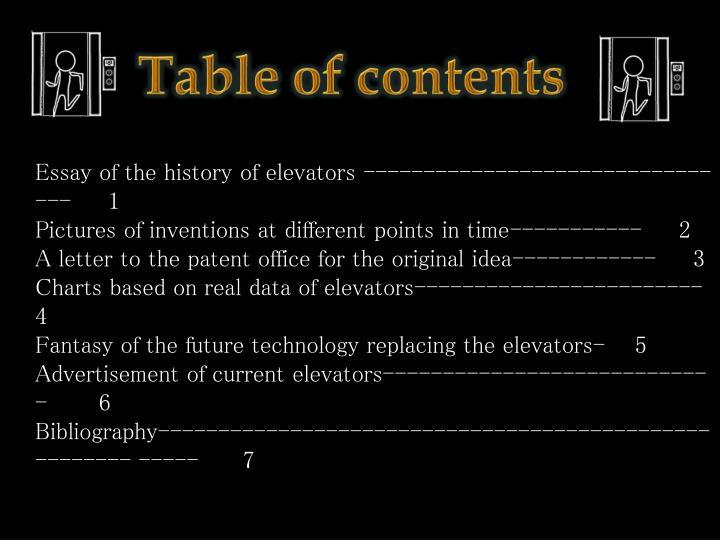 Essay of the history of elevators ----------------------------- ---     1