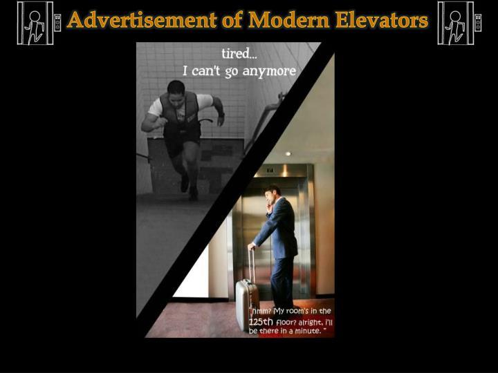 Advertisement of Modern Elevators