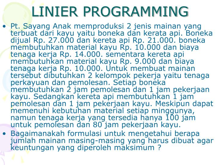 LINIER PROGRAMMING