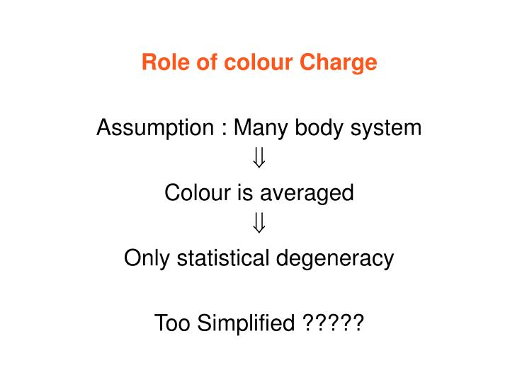 Role of colour Charge