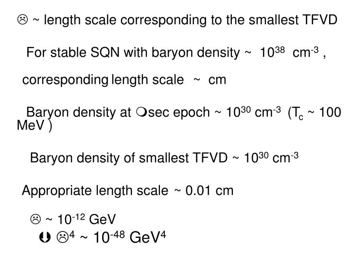  ~ length scale corresponding to the smallest TFVD