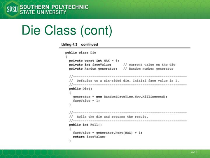Die Class (cont)